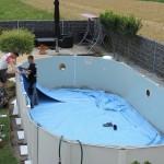 Cranpool Montage der Schwimmbeckenfolie