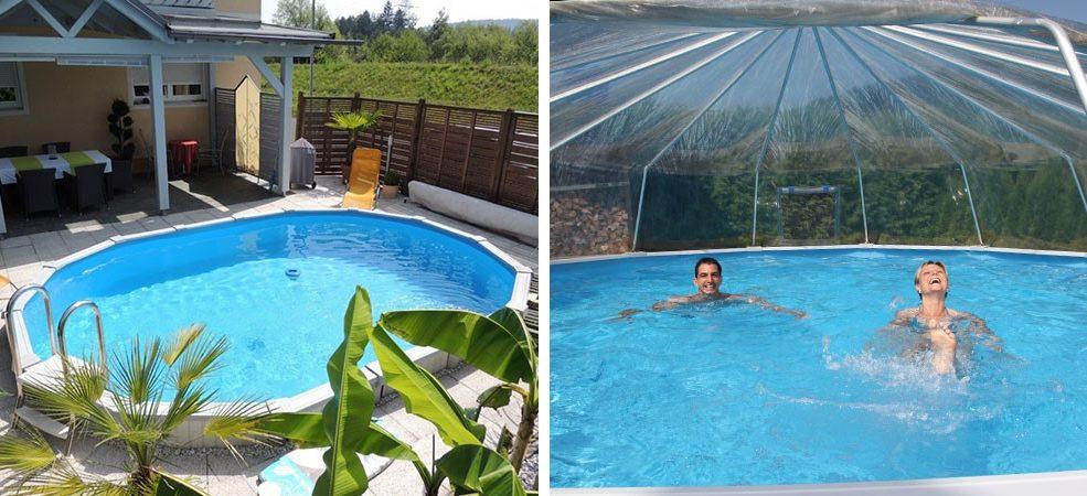Stahlwand-Schwimmbecken Sun Remo optional mit oder ohne Sonnendom jetzt zum Aktionspreis.