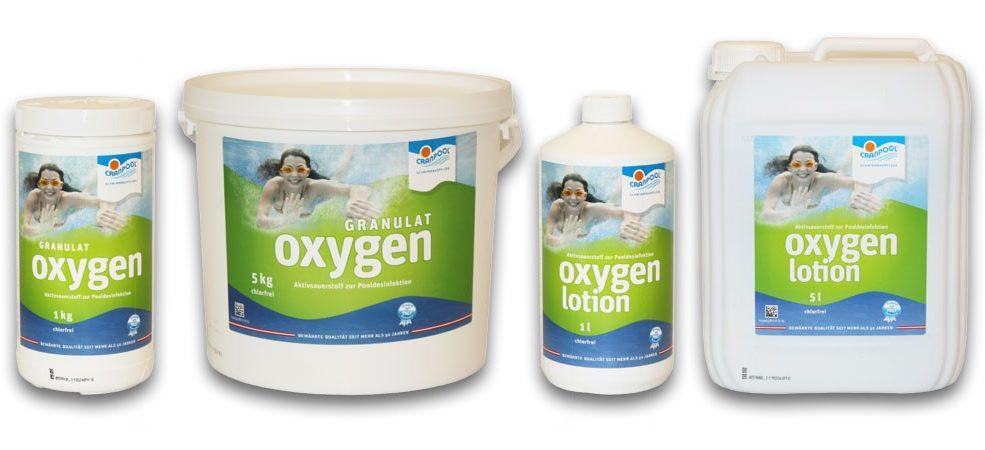 Chlorfreie Methode zur Wasseraufbereitung. Granulat und Oxygen Lotion sind sanft zu ihrer Haut und ihren Haaren, geruchlos und chlorverträglich.