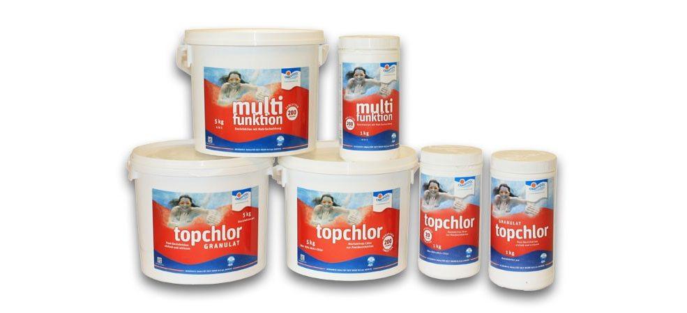 Die Topchlor Methode erfolgt durch verschiedenen Wasserpflegeprodukte wie Chlorgranulat,Chlortabletten oder Multifunkionstabletten. Wählen Sie aus den verschiedenen Produkten.